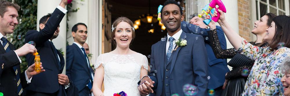 Bride and Groom confetti and bubbles