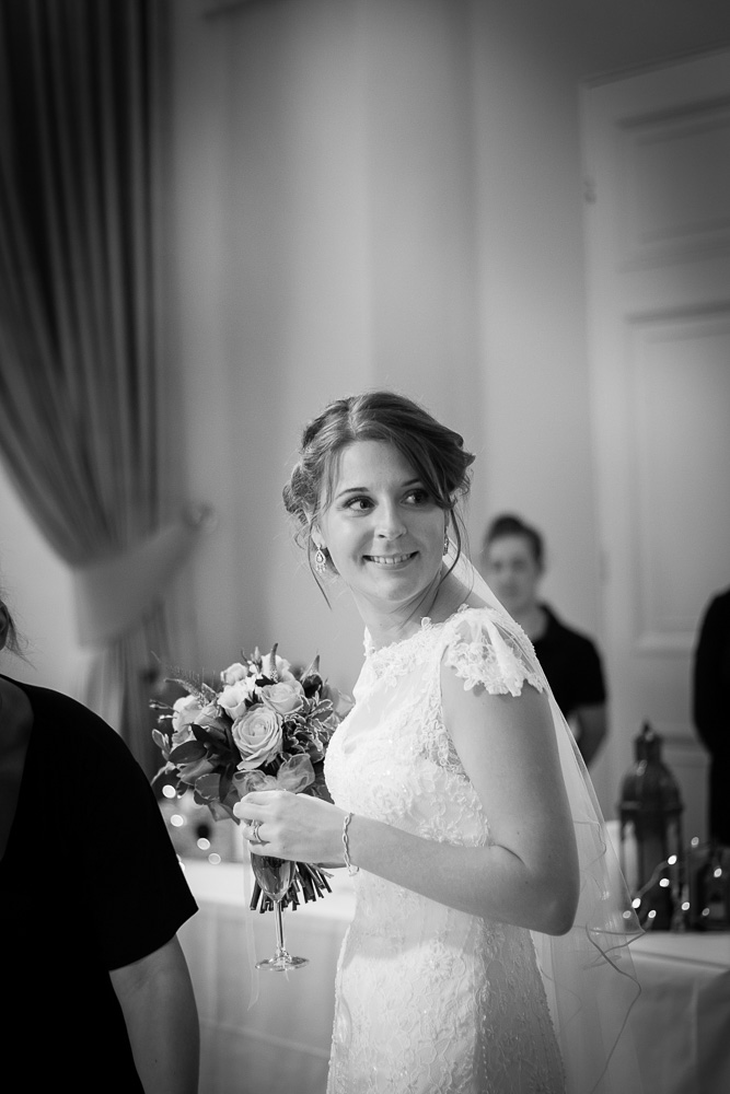 black and white smiling bride