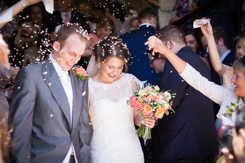 confetti shot bride and groom
