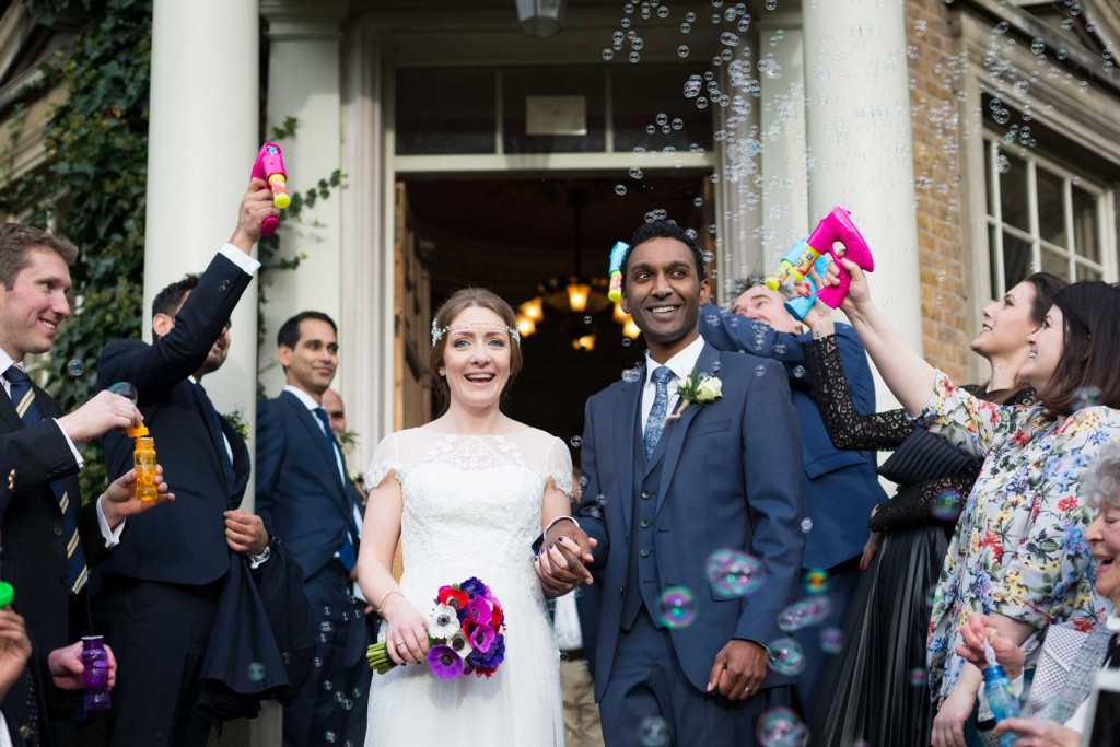 Bride and Groom confetti and bubles