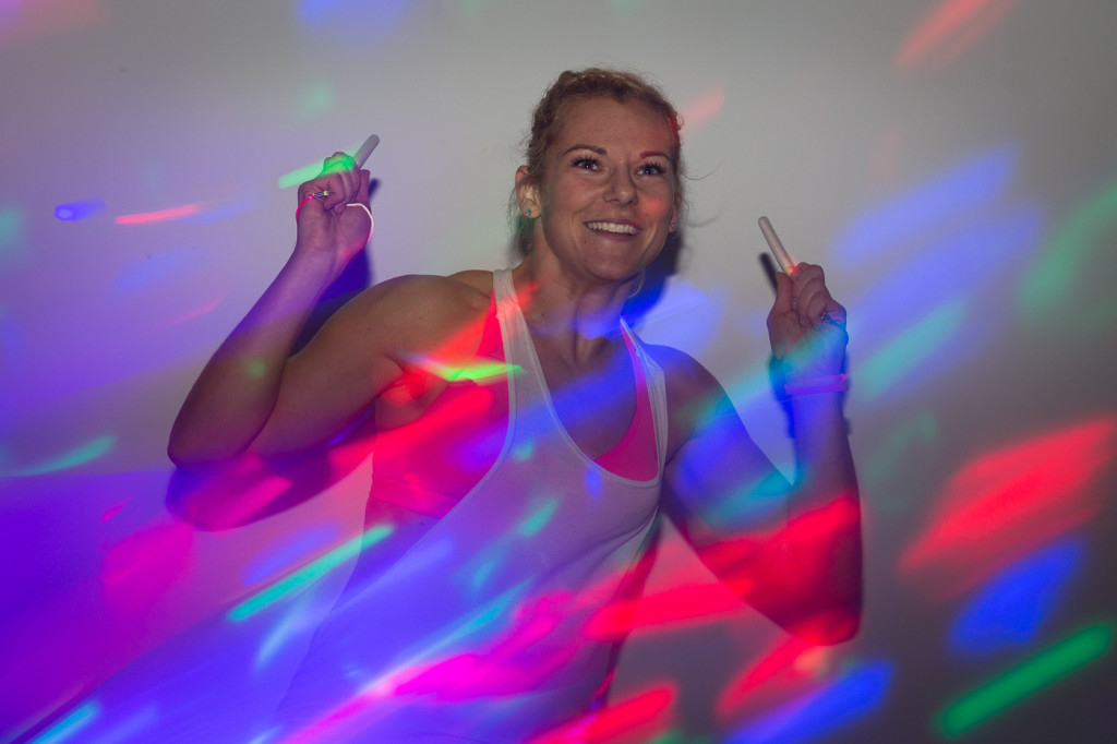 dancing woman glow sticks
