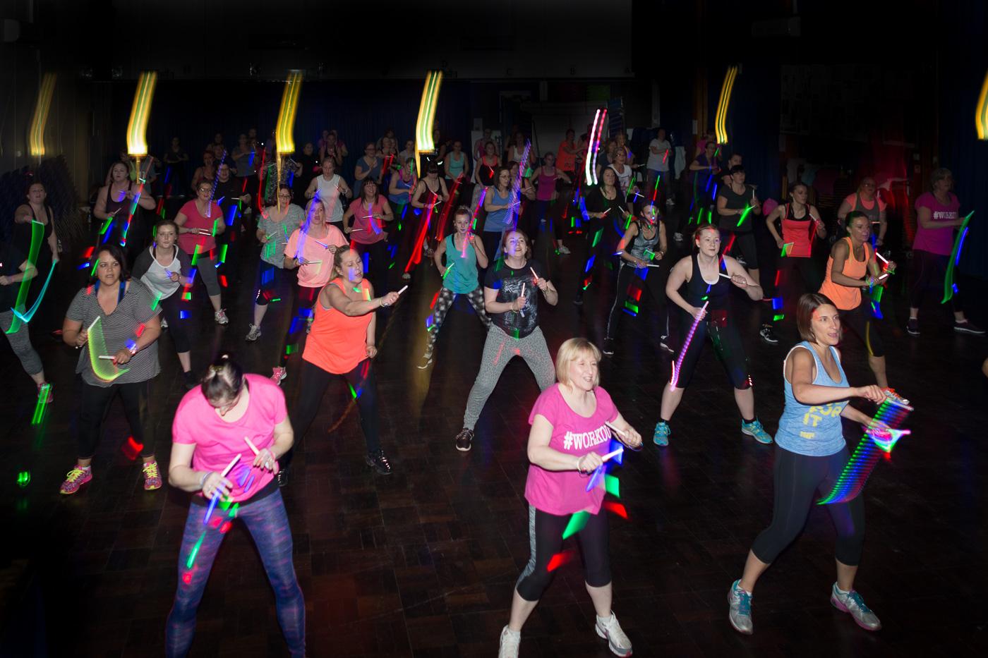 dancing class glow sticks