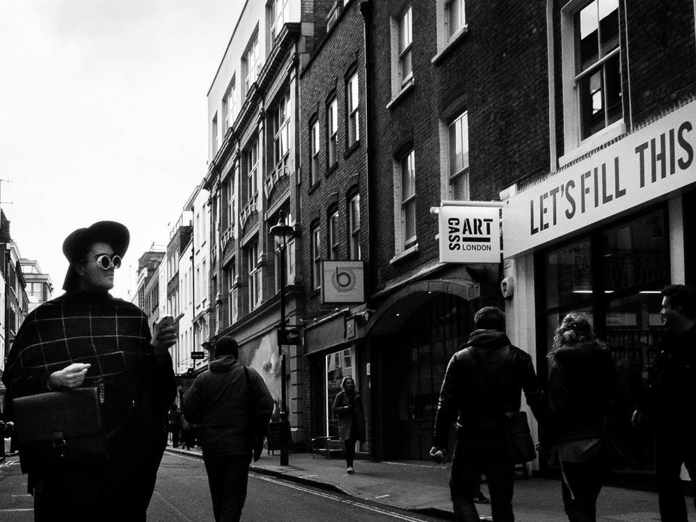 cool guy black and white London street soho