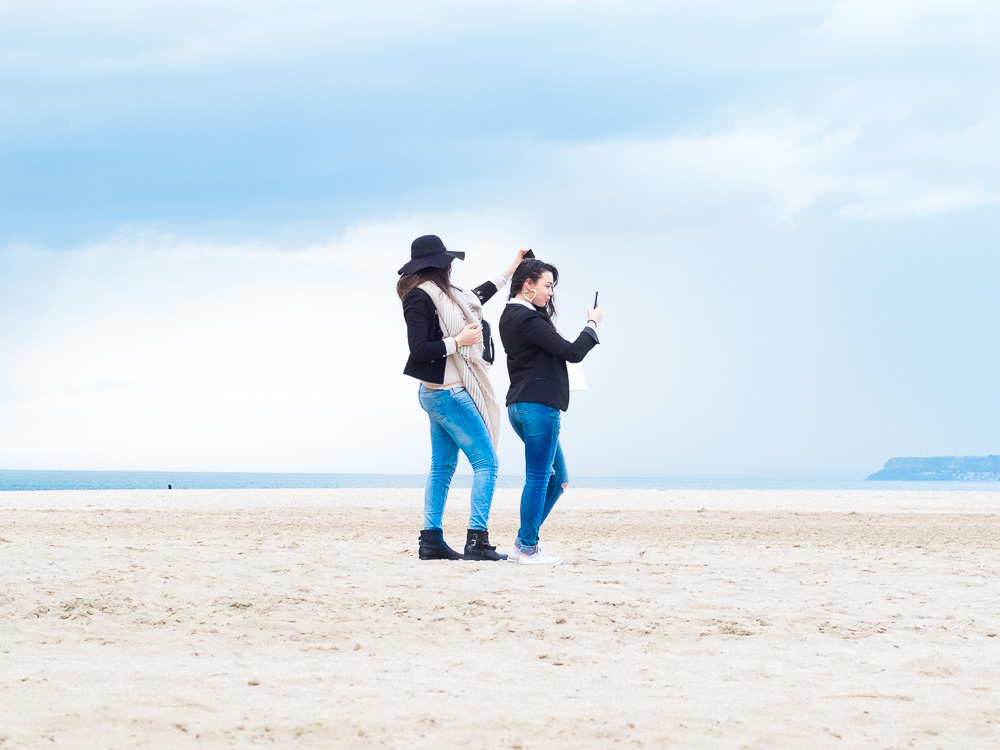 selfie plage deauville