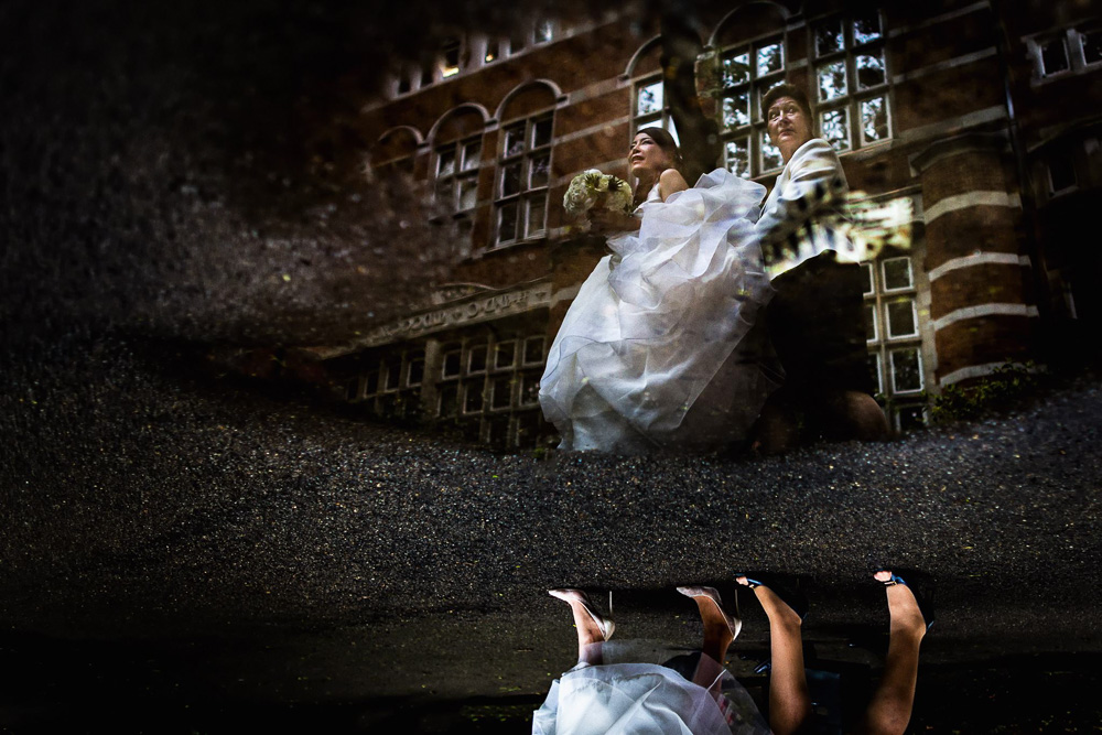 bride reflection puddle mayfair library