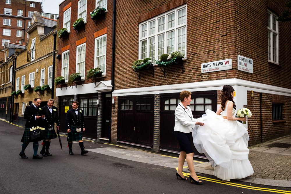 bride leaving the street