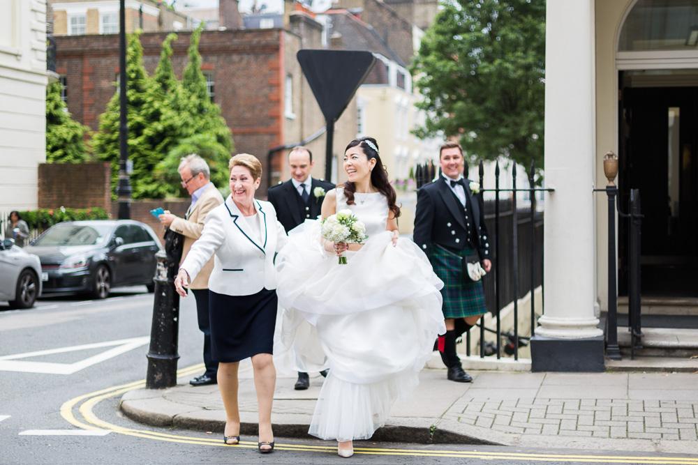 bride crossing the road