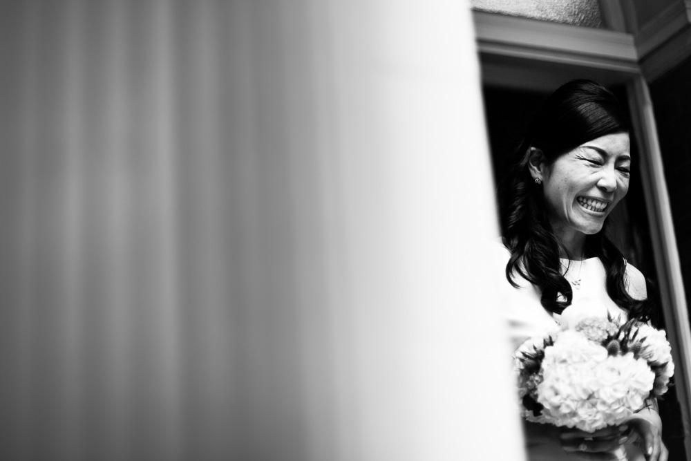 laughing bride black and white