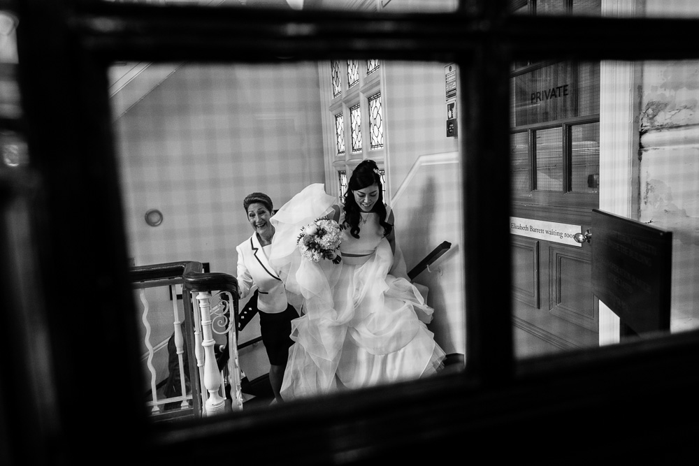 bride arriving at Mayfair Library