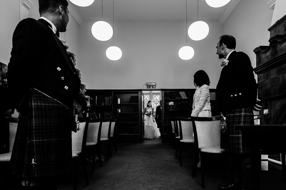 bride arriving Mayfair library