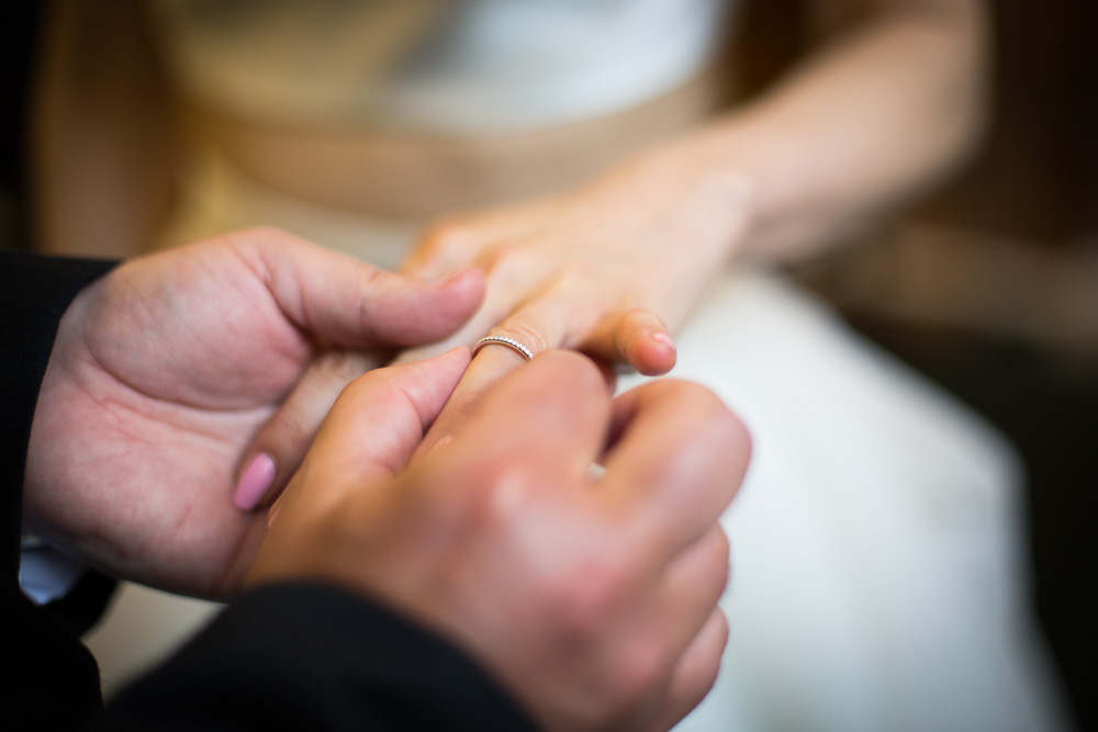 wedding ring on bride