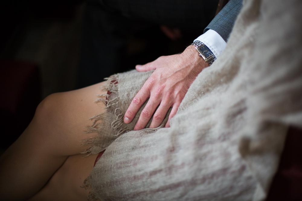 hand touching thigh oxford wedding