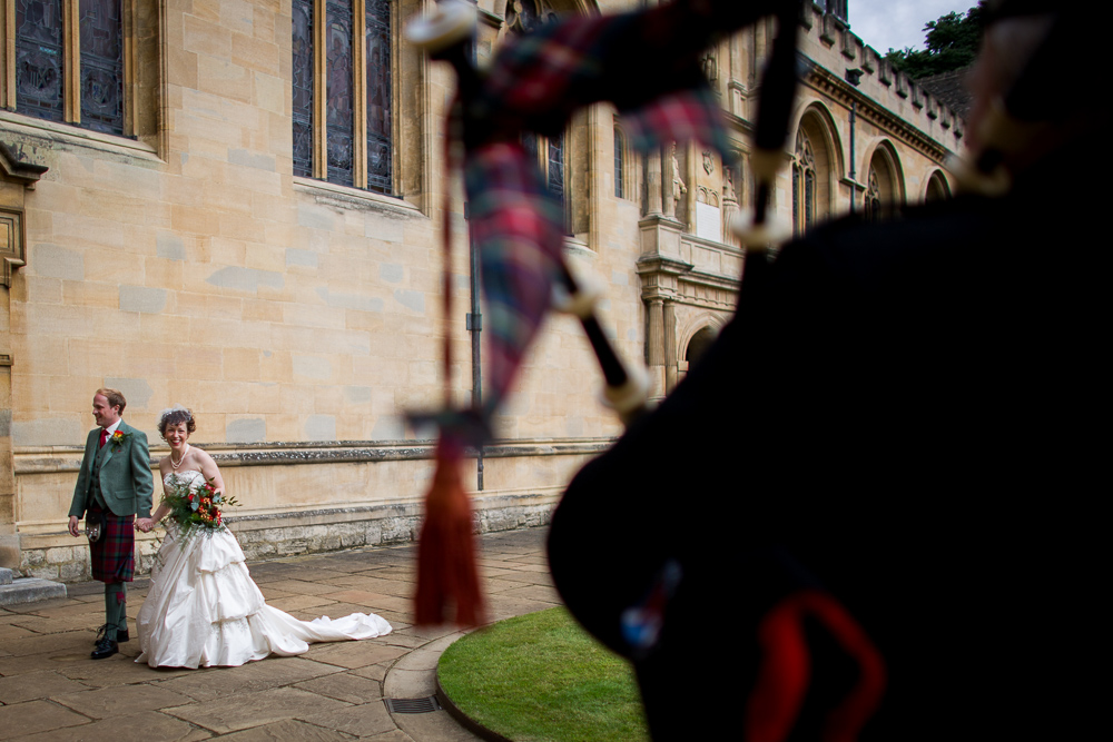Bride and groom in Oxford after the wedding ceremony