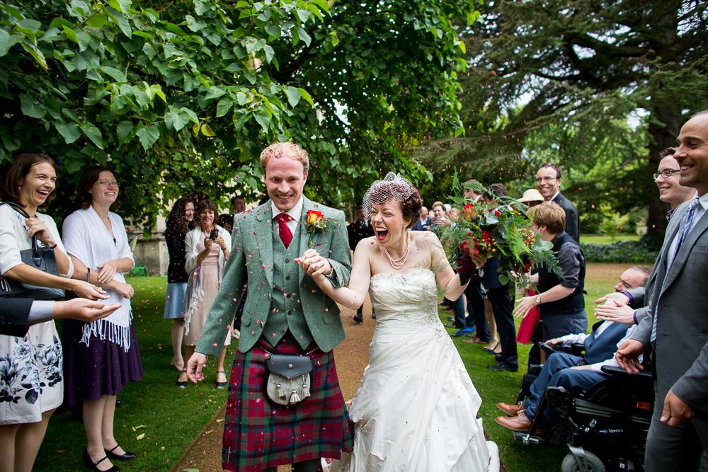 confetti shot bride and groom Oxford wedding