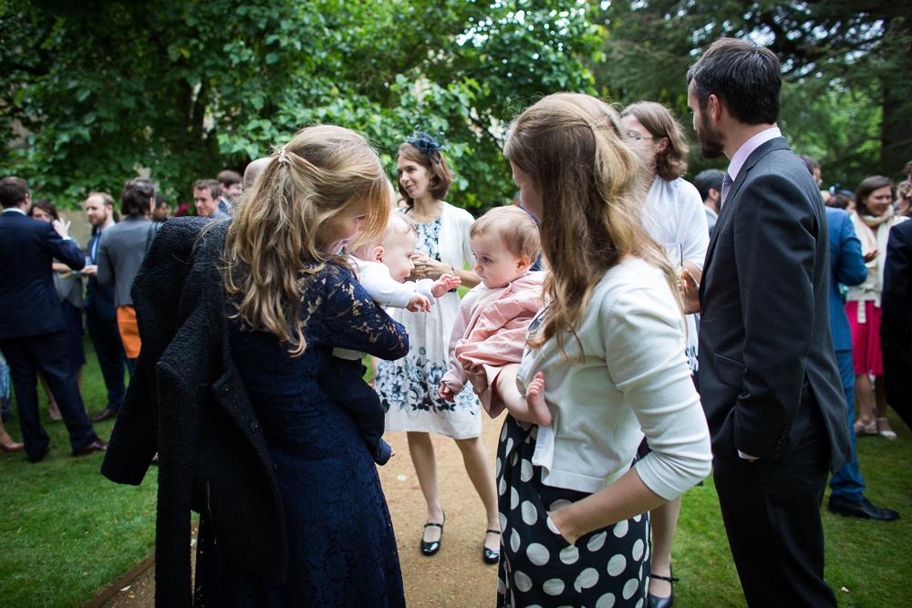 babies smiling at wedding