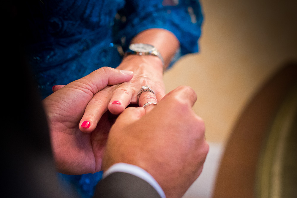 ring on bride hand in Chelsea register office