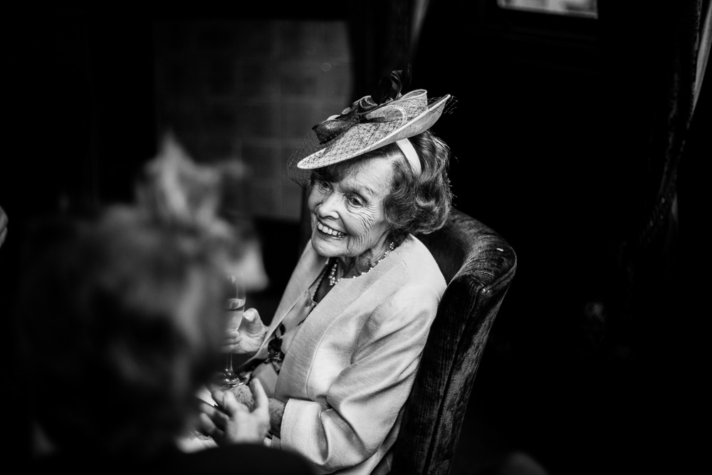 profile of grandmother in black and white