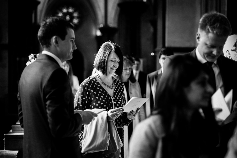 black and white image of guest in church