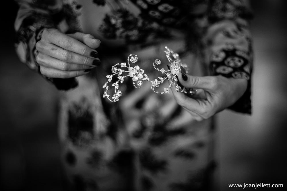 black and white shot of the bride's tiara