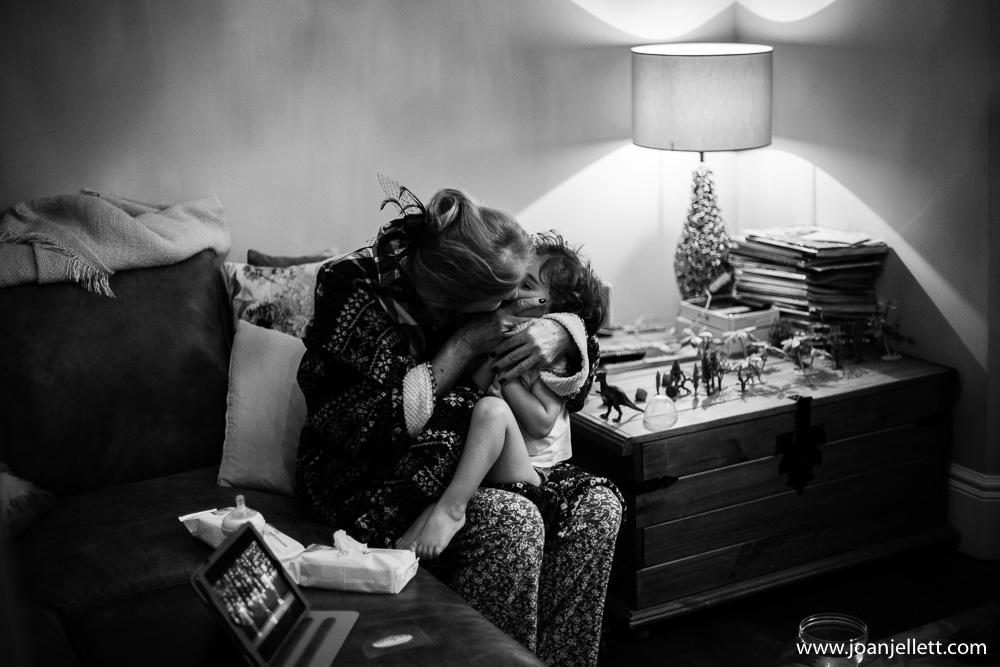grandmother kissing her grandson in Petersham hotel