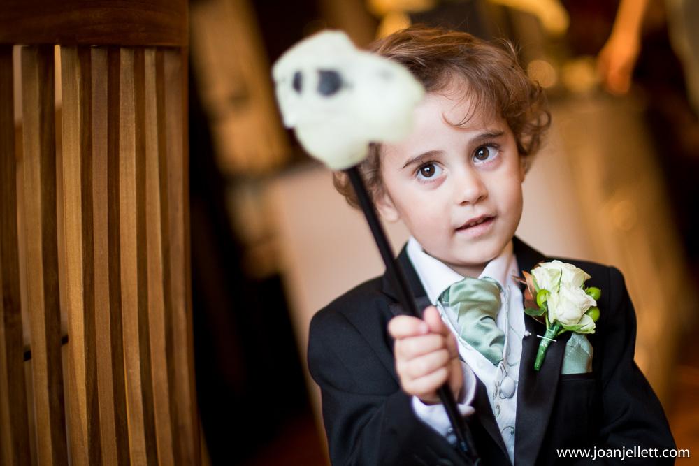 little boy holding a toy dinosaur