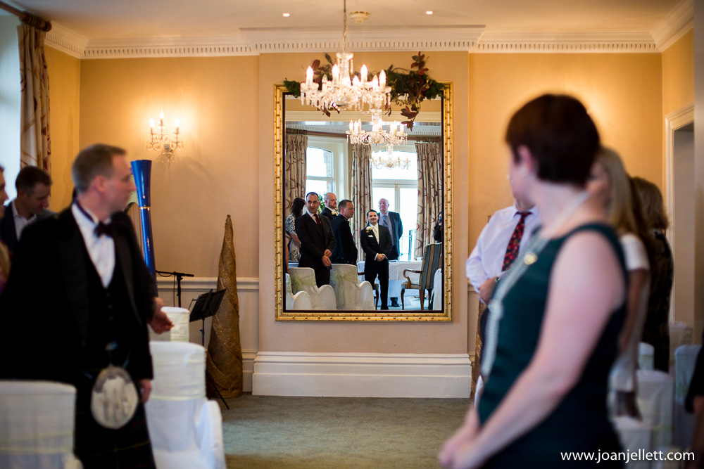groom waiting for the bride down the aisle in Petersham hotel