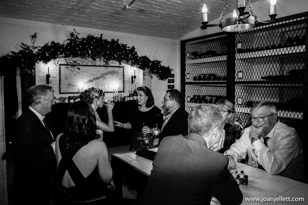 black and white shot in the wine cellar of the Petersham hotel