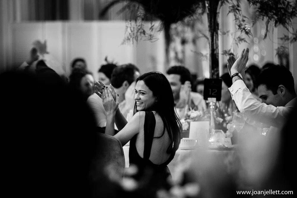 black and white shot of guests