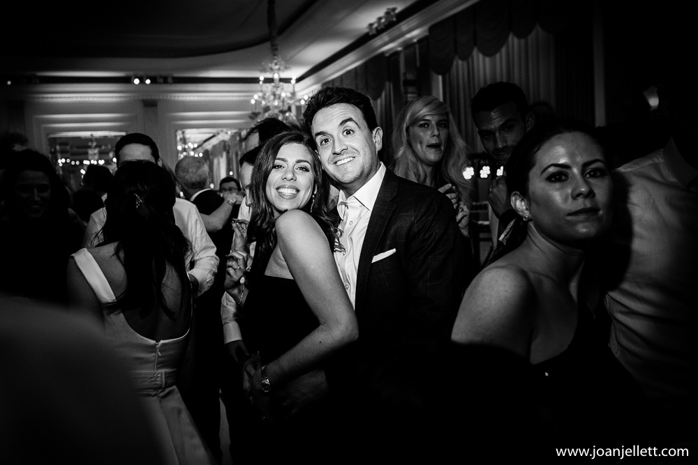 posing guests in black and white