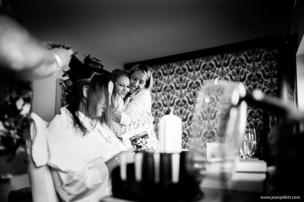 black and white shot of bride and her bridesmaids
