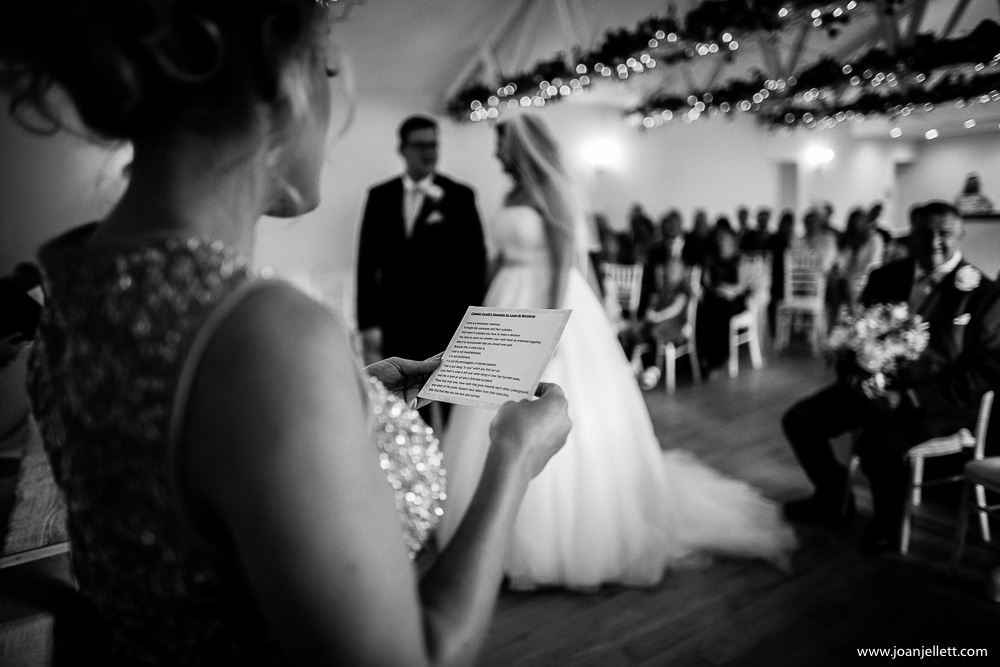 bridesmaid reading a poem