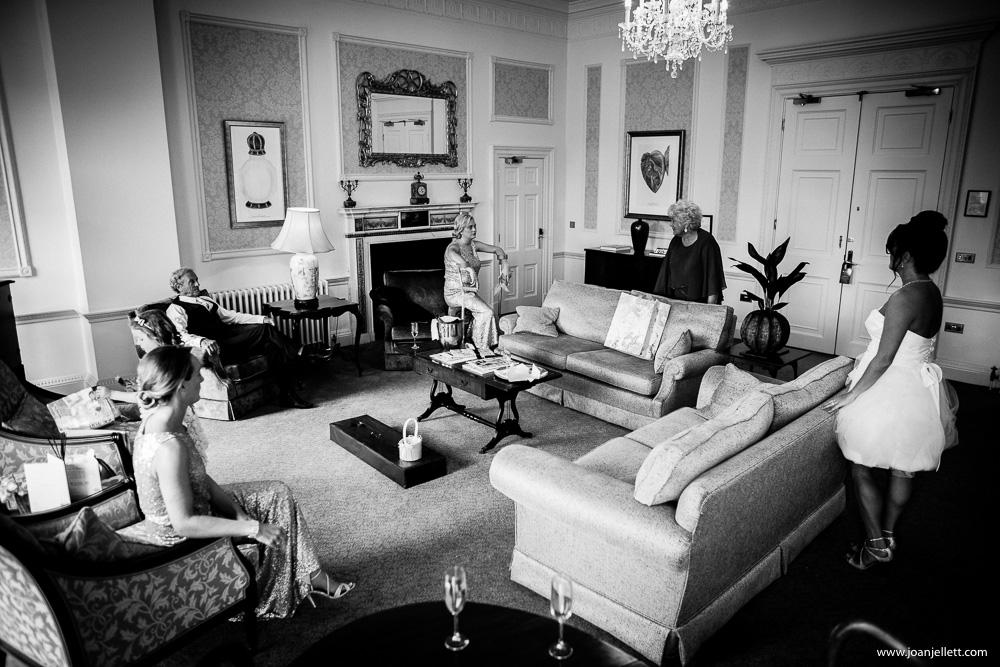 black and white shot of Luton hoo room