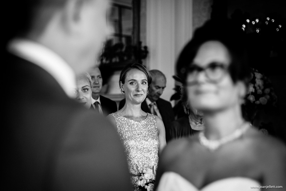 bridesmaid emotional during vows