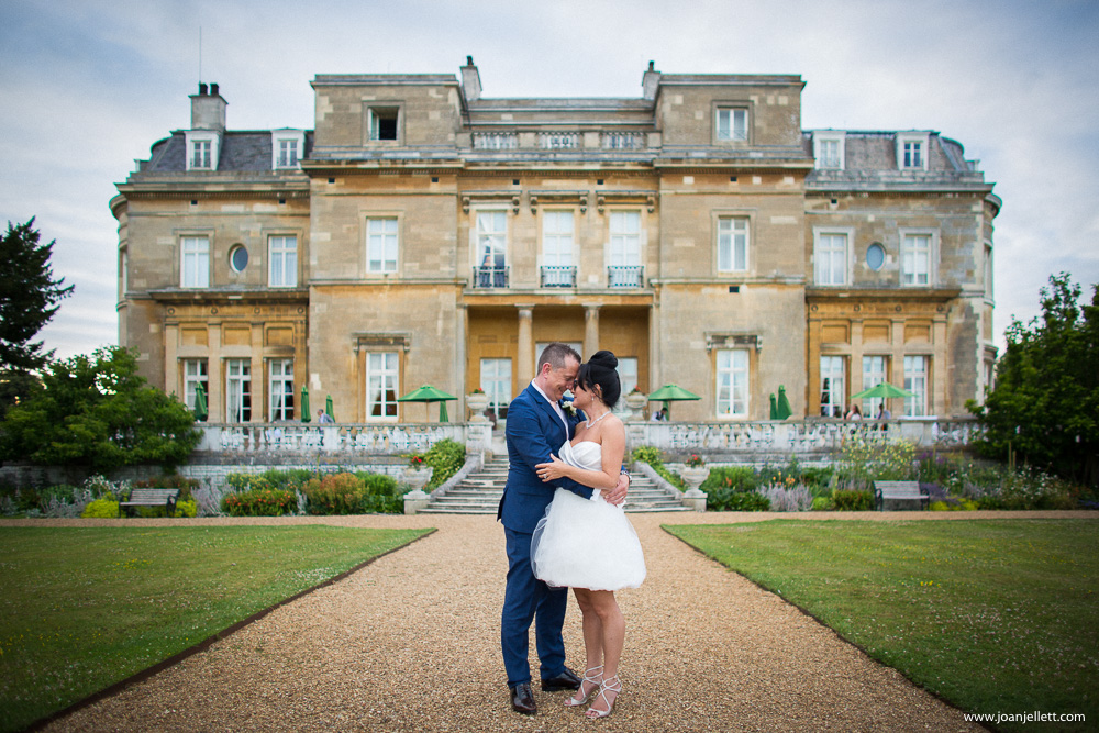 portrait of bride and groom at the Luton Hoo