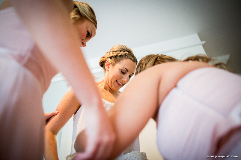 bride getting ready in her bedroom