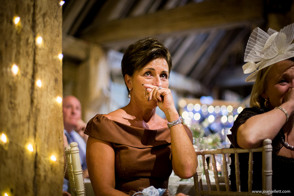 crying guest at a wedding