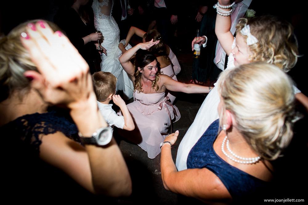 bridesmaid down on the dance floor