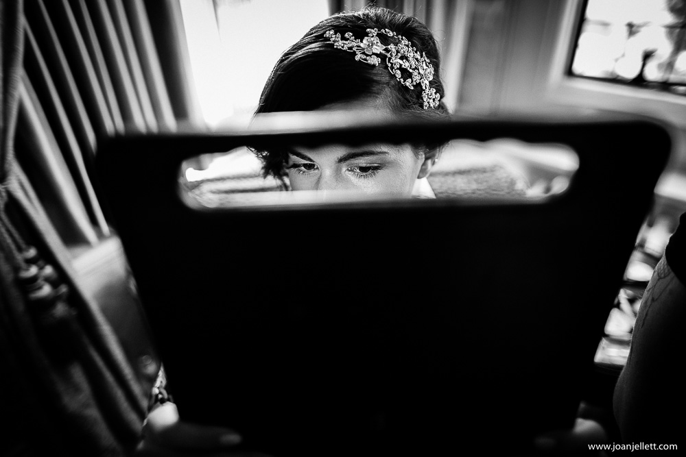 bridal preparation in black and white