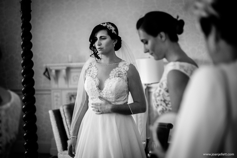 nervous black and white shot of bride