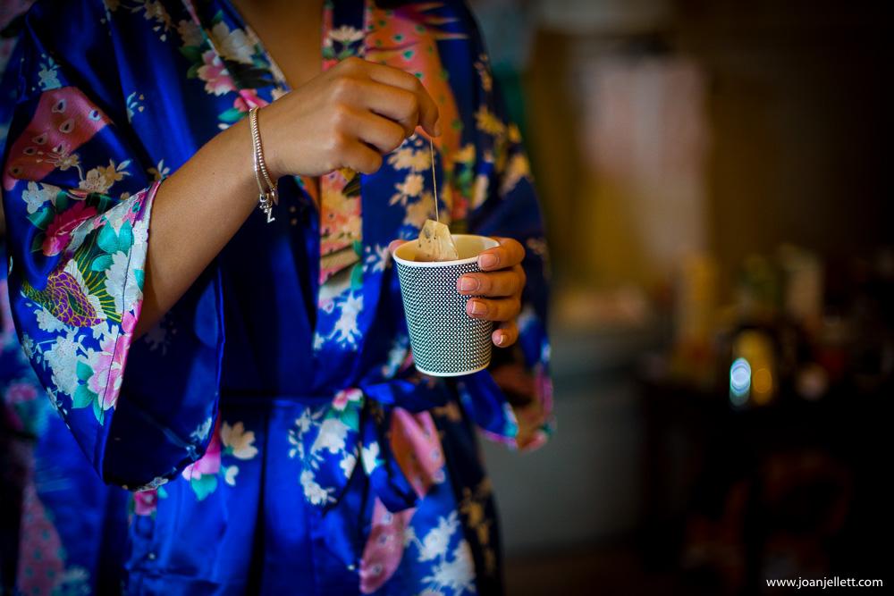 tea mug shot during bridal preparation