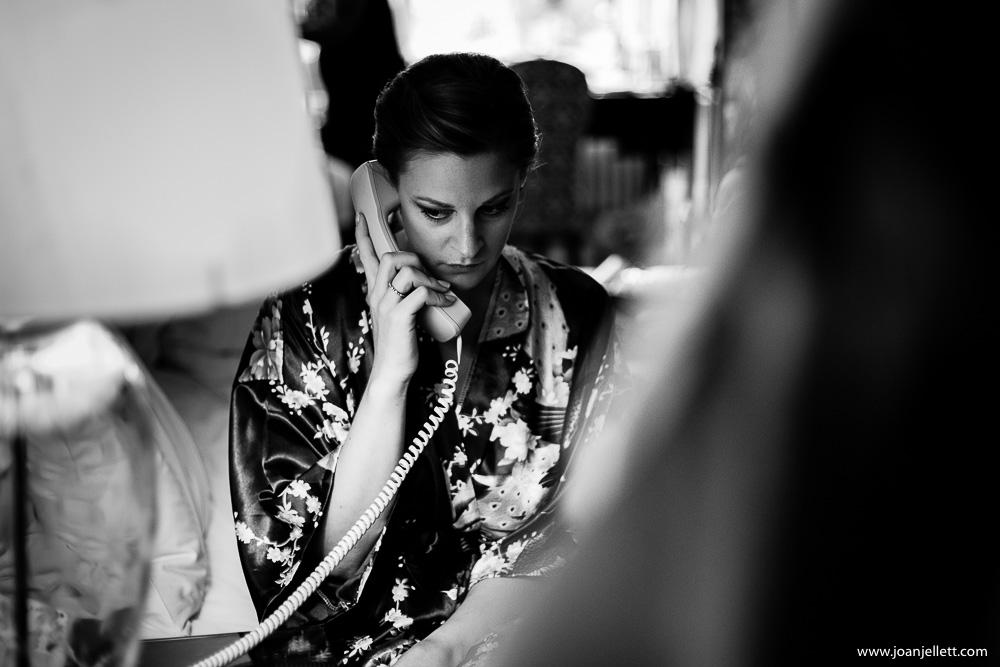 bridesmaid at Hanbury manor on the phone