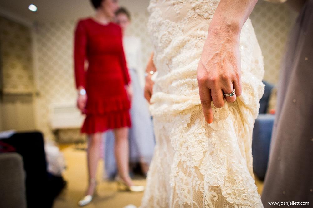 bride holding up her dress