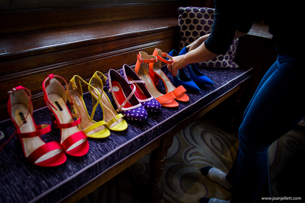display of colourful shoes