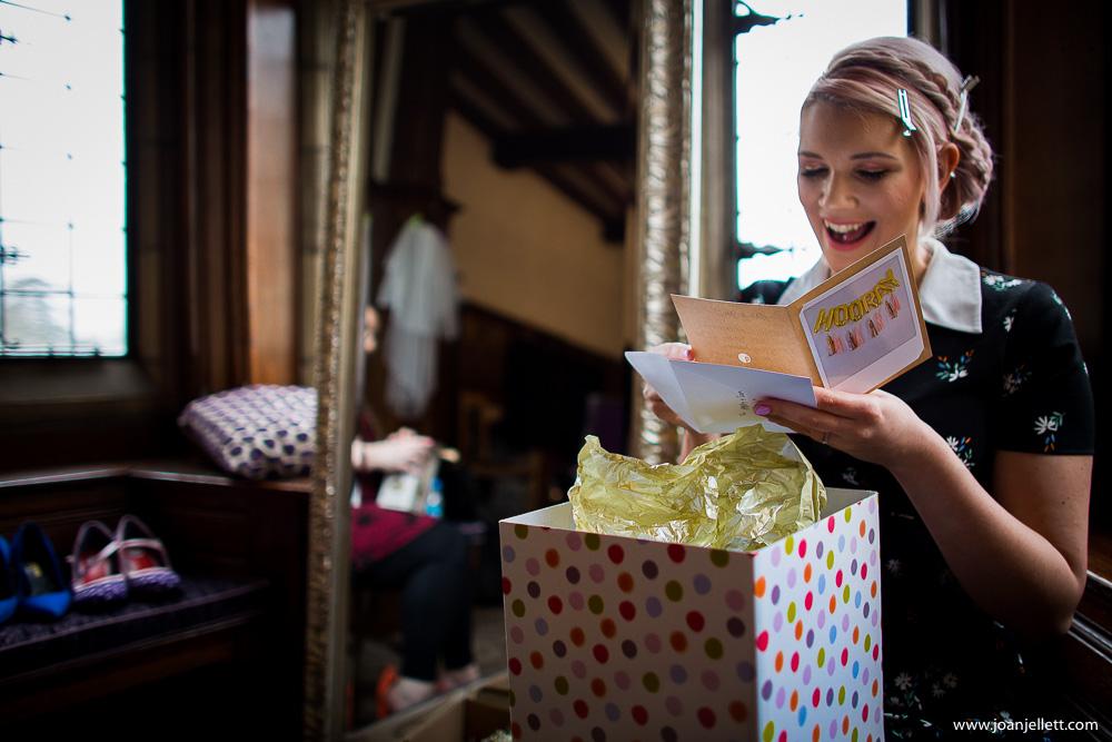 bride reading a letter