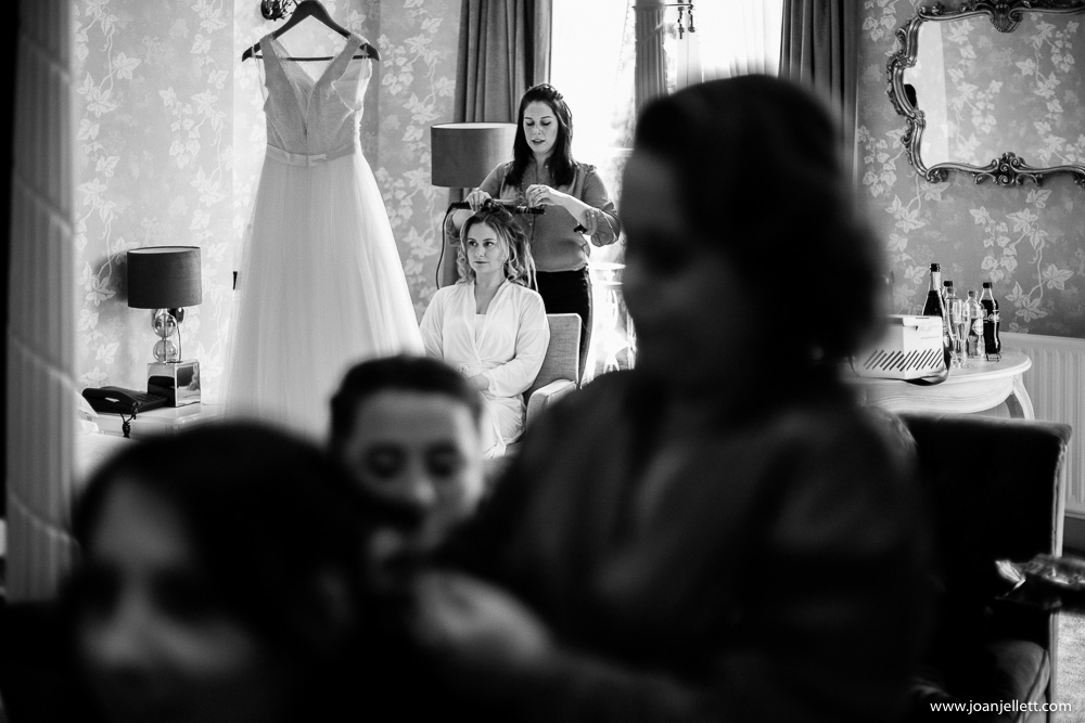 bride looking at her dress