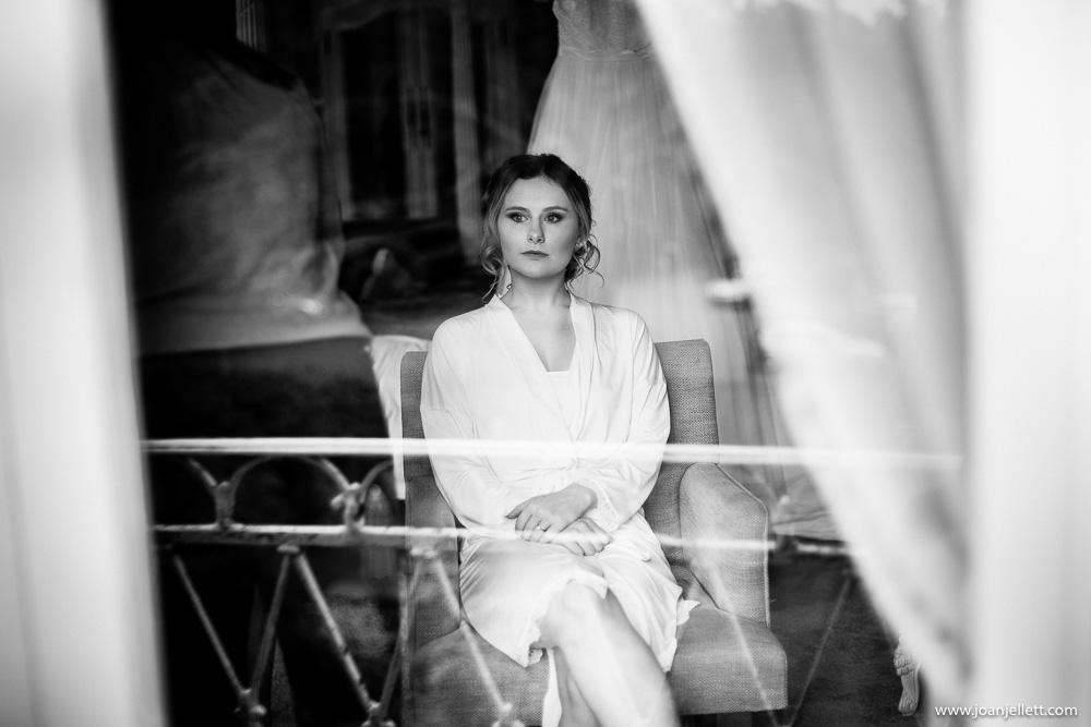 bride looking outside the window