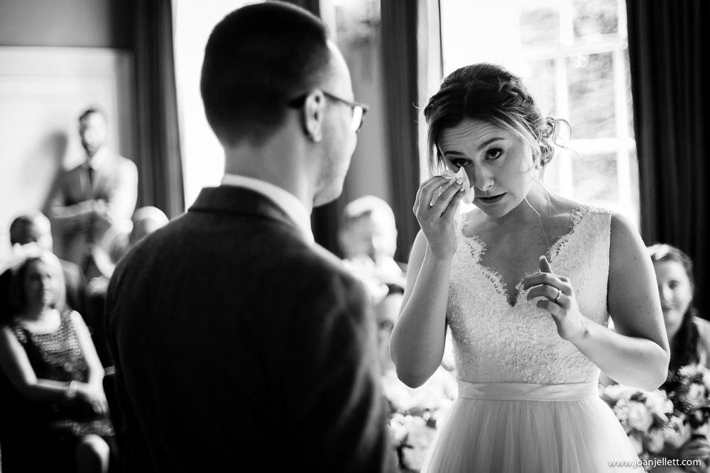 bride wiping a tear away