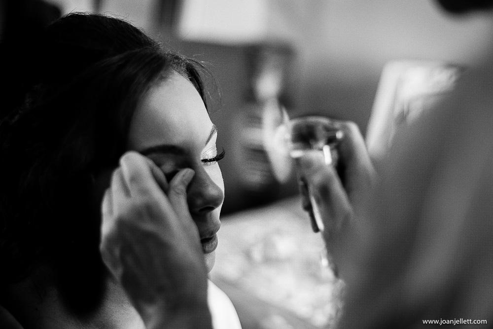 black and white shot of eyelashes