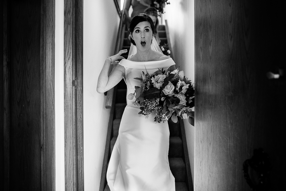 bride looking at the weather
