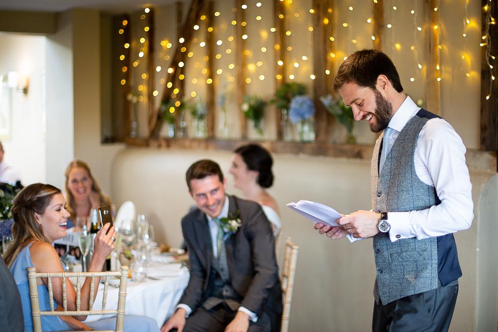 groom saying his speech
